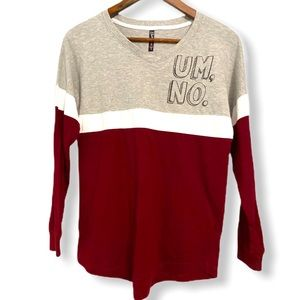 "ELECTRIC PINK ""Um No"" Long Sleeve Colorblock Tee S"